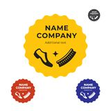 Limpieza de zapatos moderna y plantilla determinada del concepto de Shoeblacking Logo Identity Brand Symbol Icon Imagen de archivo libre de regalías