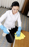 Limpieza del badroom de las mujeres jovenes Imagen de archivo libre de regalías