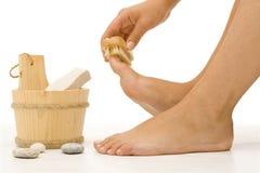 Limpieza del pie Foto de archivo libre de regalías
