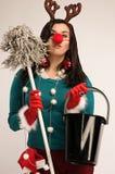 Limpieza después de la Navidad foto de archivo