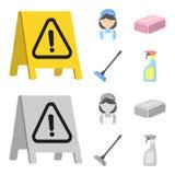 Limpieza e historieta de la criada, iconos monocromáticos en la colección del sistema para el diseño Equipo para el web de limpie Foto de archivo libre de regalías