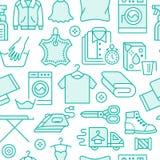 Limpieza en seco, modelo inconsútil del azul de lavadero con la línea iconos Equipo del servicio de la lavandería, lavadora, ropa ilustración del vector