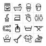 Limpieza fijada iconos Fotografía de archivo