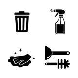Limpieza Iconos relacionados simples del vector Fotografía de archivo