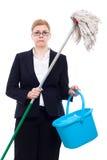 Limpieza infeliz de la empresaria Fotografía de archivo libre de regalías