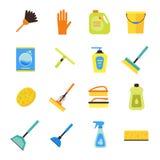Limpieza Kit Colorful Icon Set Vector Imágenes de archivo libres de regalías