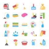 Limpieza y criada Icons Set stock de ilustración