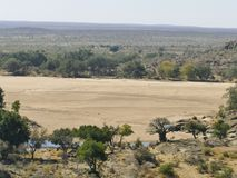 Limpopo river crossing the desert landscape of Mapungubwe Nation stock photo