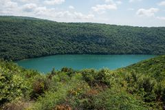 Limski Canal also called Limski Fjord in Istria near Rovinj. Adriatic Sea, Croatia. Limski Canal also called Limski Fjord in Istria near Rovinj stock photography