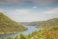 Limski Canal - landmark of Istrian Peninsula. Croatia stock photography