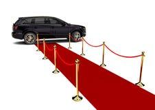 Limusina de SUV con una alfombra roja Fotos de archivo libres de regalías