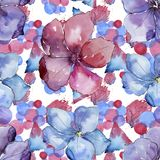 Lin coloré Fleur botanique florale Modèle sans couture de fond Texture d'impression de papier peint de tissu Photo libre de droits