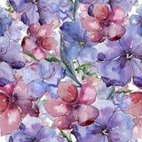 Lin coloré Fleur botanique florale Modèle sans couture de fond Texture d'impression de papier peint de tissu Photographie stock libre de droits