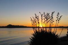 Lin de l'eau de coucher du soleil Photo stock