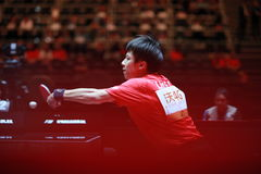 LIN Gaoyuan backhand. Men`s Singles Round of 16 world table tennis championships in Dusseldorf. 29 May 6 june 2017 Royalty Free Stock Images