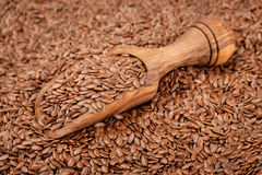 Lin seeds. Wooden scoop with lin seeds stock image