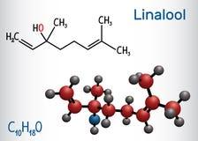 Linalool molecule Structureel chemisch formule en moleculemodel royalty-vrije illustratie