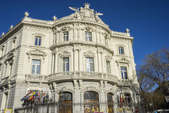 Linares facade of the palace in the capital of Spain, Madrid Royalty Free Stock Images