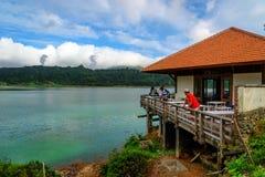 Linau lake in Tomohon. Tomohon, Indonesia - Dec 23, 2015: Restaurant on the Linau lake in Tomohon. North Sulawesi stock photos