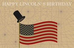 Lincoln Birthday felice Cilindro sulla bandiera palo degli S.U.A. Immagine Stock Libera da Diritti