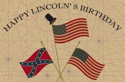 Lincoln Birthday feliz Unión y banderas confederadas con el sombrero de copa Imágenes de archivo libres de regalías
