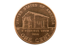 Lincoln Cabin Penny Coin. Lincoln birth cabin memorial penny one cent coin isolated on white Stock Images