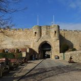 Lincoln Castle,east gate. Colour shot of the east face of Lincoln castle,Lincolnshire England Stock Image