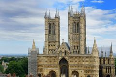 Lincoln Cathedral from castle walls Royalty Free Stock Photos