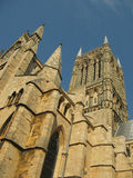 Lincoln Cathedral close up (portrait). The spire of Lincoln Cathedral close up Royalty Free Stock Photography