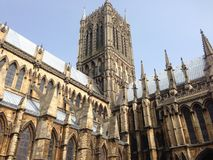 Lincoln cathedral, England, UK. The side Lincoln cathedral demonstrates its fine architecture design that makes it withstand with time Royalty Free Stock Image