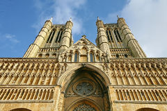 Lincoln Cathedral front elevation. Gothic facade of Lincoln cathedral Stock Images