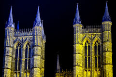 Lincoln cathedral in Great Britain night view Royalty Free Stock Images