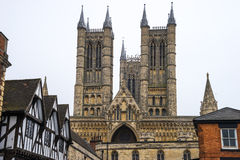Lincoln Cathedral, Lincoln, England, viewed across rooftops Stock Photos
