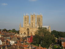 Lincoln Cathedral. Low level aerial view of Lincoln Cathedral Royalty Free Stock Images