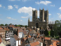 Lincoln Cathedral. Low level aerial view of Lincoln Cathedral Royalty Free Stock Photography