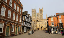 Lincoln cathedral quarter. Cobbled square in Lincoln by the cathedral Royalty Free Stock Photo