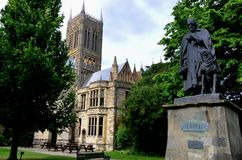Lincoln Cathedral and statue of Tennyson Royalty Free Stock Image