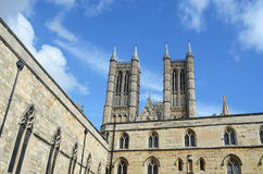 Lincoln Cathedral walls,England. Lincoln Cathedral walls set against a blue sky Royalty Free Stock Photography
