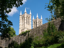Lincoln cathedral. West end towers above the entrance at the christian cathedral built by the normans in the eleventh century (when Remigious was bishop here) stock photos