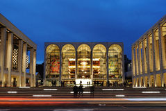 Lincoln Center. The world renown performing arts space in New York City, with the Metropolitan Opera House at Center. The architecturally impressive structure Royalty Free Stock Photography