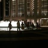 Lincoln Center Fountain bij Nacht Stock Fotografie