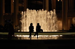 Lincoln Center Fountain Silhouettes, New York City royalty free stock images