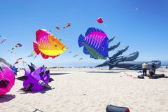 Annual Kite Flying Festival. Lincoln City, Oregon, USA - June 26,02016:  Annual Kite Flying festival in Lincoln City on the Oregon Coast Royalty Free Stock Photos