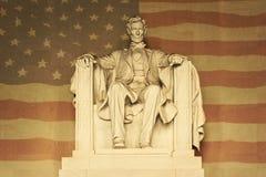Lincoln con la bandiera americana Fotografia Stock Libera da Diritti