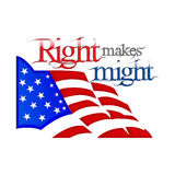 Lincoln Day. Right makes might, text placed above the US flag Royalty Free Stock Photography