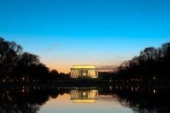 Lincoln-Denkmal an der Dämmerung Lizenzfreie Stockfotos