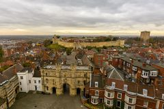 Lincoln East View, England. View from the Cathedral Tower, with Lincoln Castle and Dramatic Cloudscape Stock Photo