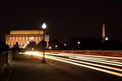 Lincoln en de Gedenktekens van Washington, Washington, gelijkstroom Stock Afbeeldingen