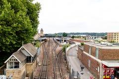 Lincoln Förenade kungariket - 07/21/2018: Lincoln City Train Station royaltyfri foto