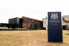 Lincoln Förenade kungariket - 07/21/2018: Ett välkommet tecken in i uen arkivbild